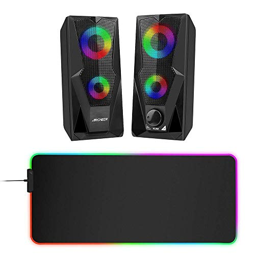 ARCHEER Computer Speakers 10W RGB Gaming Speaker with Enhanced Stereo LED Light, RGB Mouse Pad, Soft Extra Extended Large Mouse Pad, Anti-Slip Rubber Base, Computer Mouse Mat - 31.5 X 11.8Inch