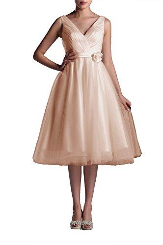 Wedding Dresses V-Neck Bridal Gowns Simple A-line Tea Length Wedding Dress Bride Short, Color Champagne,16