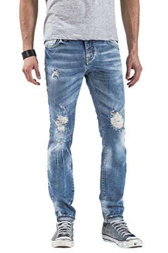 Meltin'Pot - Jeans MERET D2049-DP405 estilo skinny para hombre Denim Blue