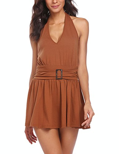 Brown Halter Dress - 9