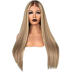 Women Long Natural Straight Wig Fudule Human Hair Wigs Heat Resistant Synthetic Hair Ombre Blonde Full Hair Wigs Costume Wig