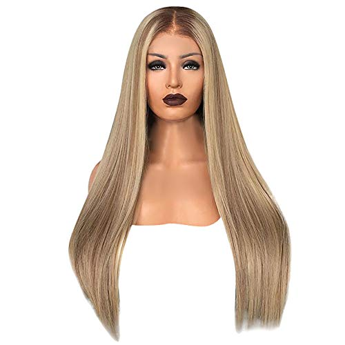(Kimanli Sexy Gradient Blonde Party Wigs Long Curly Hair Mixed Colors Synthetic Wig Tools Accessory Elegance Cool)