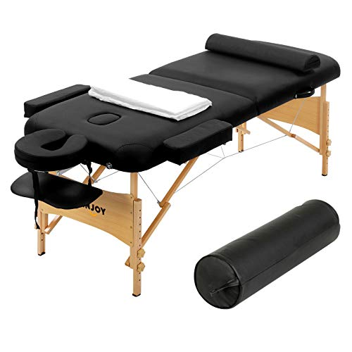 "Uenjoy Massage Table 84"" Professional Folding Massage Bed Deluxe Model with Extra Width, Ultra-thick Sponge, PU Leather Surface & Two Bolsters and other accessories, 2 Fold, Black"