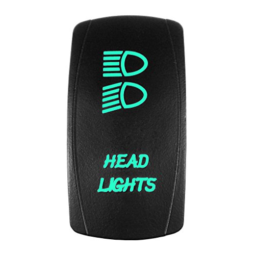 Green Position Light - Bright Light Powersports - Laser Rocker Switch - HEADLIGHTS - Universal Off/On/On - 3 Position -12 Volt (green)
