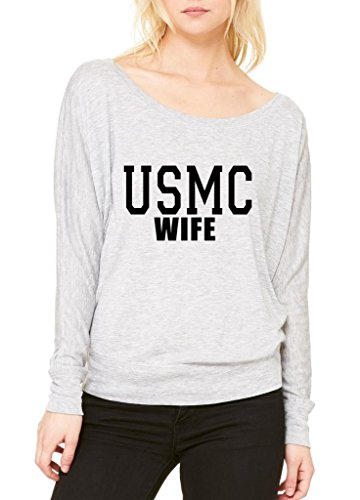 Xekia Usmc Wife Proud Marine Corps Women Flowy Off Shoulder T Shirt Xx Large Athletic Heather Grey