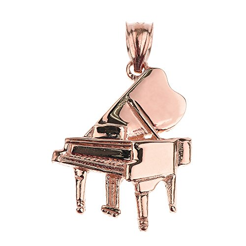 Solid 14k Rose Gold Music Charm Grand Piano Pendant (Pendant Piano)