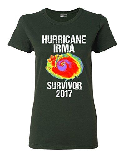 Beach Open Ladies Hurricane Irma Survivor 2017 DT T-Shirt Tee (Small, Forest Green)