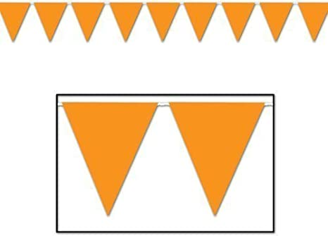 Amazon Com Fun Express 100 Ft Orange Pennant Banner Flags Party