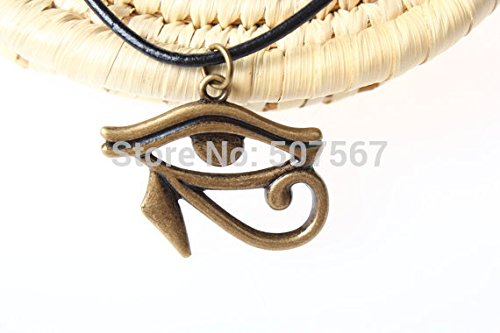 Sweet Brownie -New~Retro Black Leather Cord Necklace,Egyptian eye of horus necklace jewelry eye of ra necklace antique brass