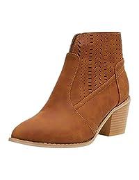 Jesper Vintage Womens Faux Leather Boots, Buckle Strap Block Heel Short Ankle Booties,Shoes