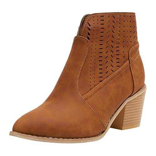 Aniywn Women's Ladies Ankle Short Boots, Solid Leather Hollow Out Shoes Ladies High Heels Boots Brown ()