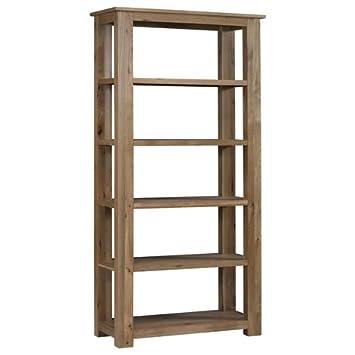 oak bookcase open back 5 shelves chunky build simple design rh amazon co uk