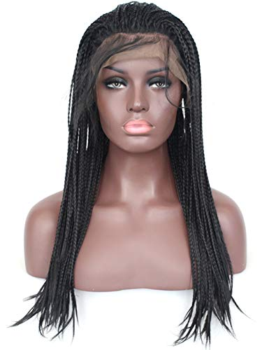 Lace Front Wig #1B Natural Black Half Hand Tied Synthetic Hair Heat Resistant Hair Braided Wigs Free Part with Baby Hair for Black Women (18 inches, Micro Braided,#1B) ()