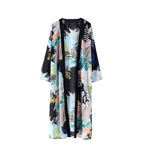 Towallmark Women Boho Floral Printed Chiffon Beach Shawl Kimono Long Cardigan