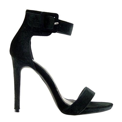 Angkorly - Scarpe da Moda sandali scarpe decollete stiletto sexy donna tanga fibbia Tacco Stiletto tacco alto 11 CM - Nero