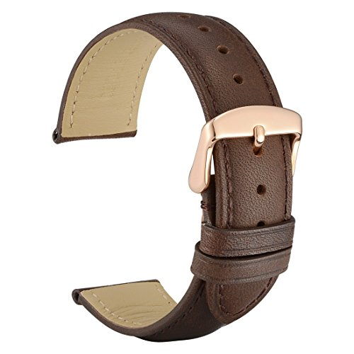 WOCCI 18mm Dark Brown Vintage Leather Watch Band with Rose Gold Pin Buckle Replacement Strap(Tone on Tone Seam)
