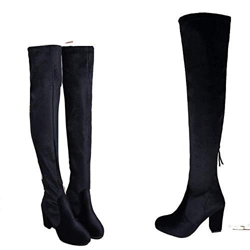 Mujer Eu Cremallera 35 Rodilla Zapatos Sed Gruesa Elegante Elástica Tacón Con Botas De Alto qwEf4OTCx