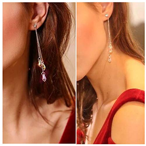 Color Change Multi Teardrop Clip on Earrings Long Chain Tassel Dangle Drop Made with Swarovski Crystals