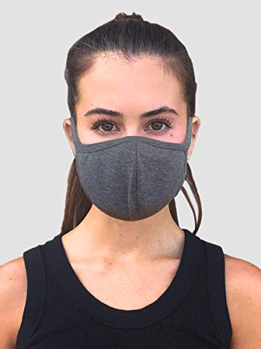 Designers Union Face Mouth Mask Dustproof Face UV Protective, Multi Layers Cover, Washable, Reusable Cotton Lite Weight Face Masks. Made in USA - (Charcoal)