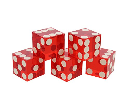 (Get Out! Precision Casino Dice 6-Sided 19mm Game Playing Dice, Translucent Red, Set of 5 - Play Craps, DND D&D, RPG, D6)