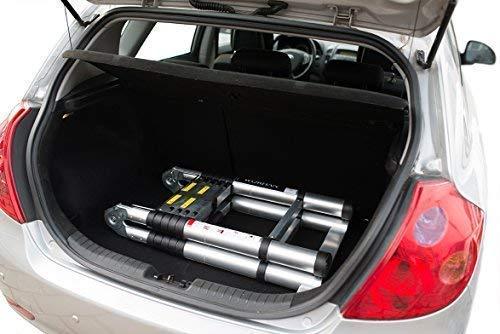 Worhan® 5m teleskopleiter 2 in 1 anlegeleiter klappleiter alu