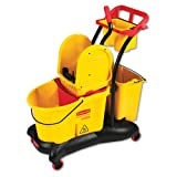 Rubbermaid Commercial WaveBrake Mopping Trolley Down-Press Bucket/Wringer Combo, 8.75 gal, Yellow - Includes wringer, clean-water bucket, dirty-water bucket, maid caddy, accessory bucket and Quiet-Caster trolley.