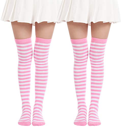 Over Knee Long Sock Striped Mardi Gras Socks St. Patrick's Day Stockings (2 Pairs Pink White socks)]()