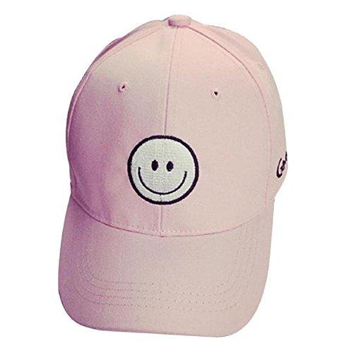 béisbol ZARU sonrisa Snapback del de Cara bordado de Gorra del algodón Hop de plana negro unisex Hip rosa sombrero la rtt7q