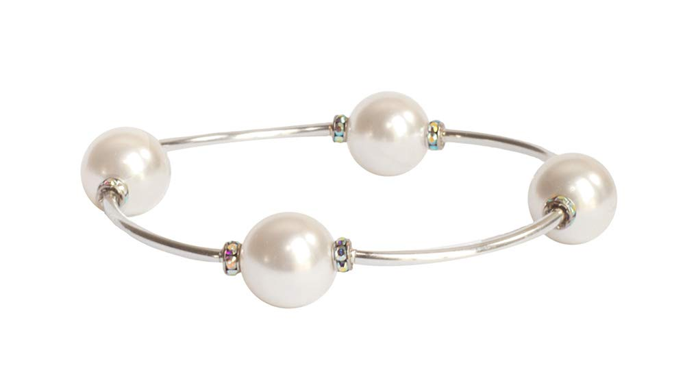 Made As Intended Crystal White Swarovski Pearl Blessing Bracelet (7) by Made As Intended