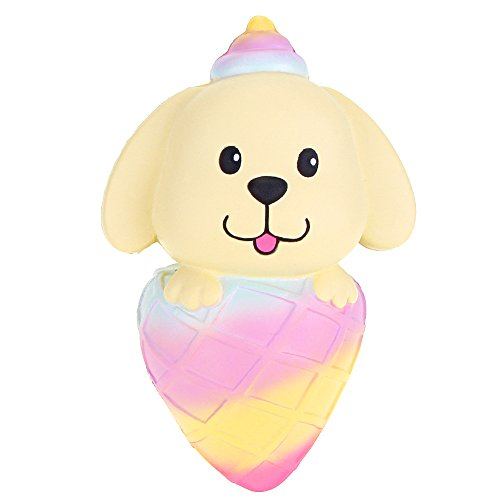 VLAMPO Puppy Ice Cream Squishy Slow Rising Stress Toys Squishies Soft Scented Decoration Toys 5.9'' (Rainbow)