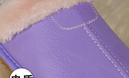 Cattior Mujeres Fur Forradas Cómodas Zapatillas De Cuero De La Pu Zapatillas De Cuero Púrpura