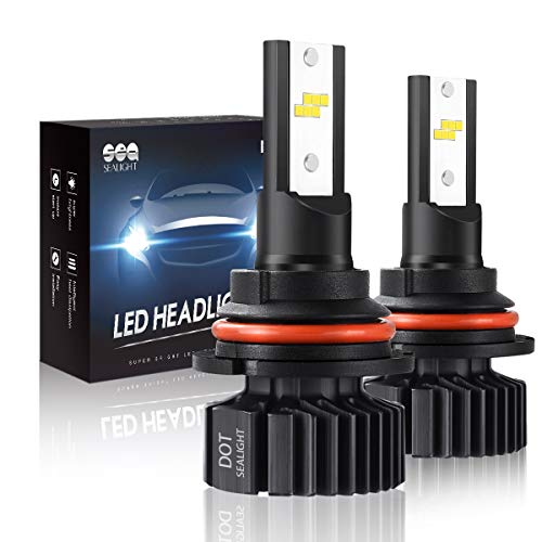9004 HB1 Led Headlight Bulbs Hi/Lo Beam, Small Size,SEALIGHT Super Bright 24xCSP Chips Dual Beam Led Bulb-6000LM 6000K White(Pack of 2) ()