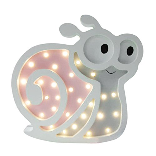 SODIAL Wooden Cute Snails LED Night Light Children's Day Lovely Animal Gifts Home Party Wall Light Decor Holiday Kid Baby Sleep Lamps Pink by SODIAL