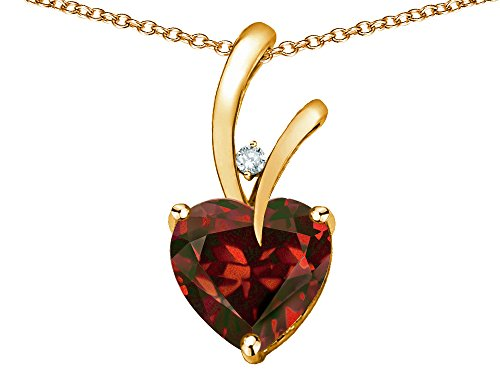 Star K Heart Shape 8mm Genuine Garnet Endless Love Pendant Necklace 10 kt Yellow Gold ()