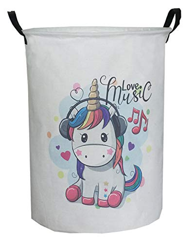 ESSME Large Storage Bin,Canvas Fabric Storage Baskets with Handles,Collaspible Laundry Hamper for Household,Gift Baskets,Toy Organizer(Cartoon Unicorn) (Tall Kids Hamper)