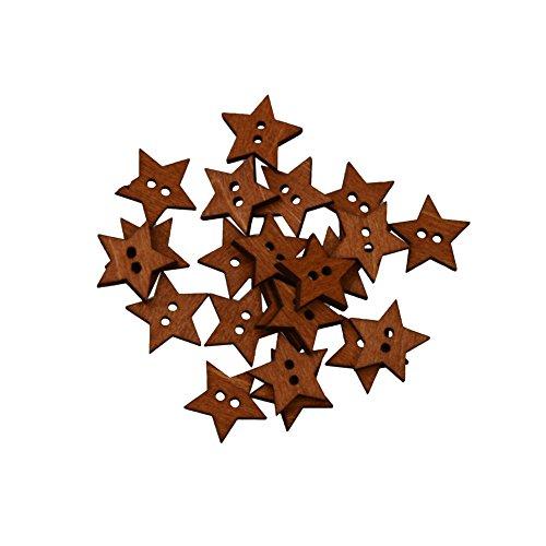 RJE 100 Stück Sterne Kinderknöpfe Knöpfe mit 2 Loch Holzknöpfe Mischung