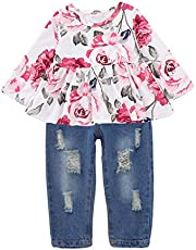 Willow Dance 2Pcs/Set Toddler Kids Baby Girl Sleeveless T-Shirt Top+Sunflower Denim Jeans Shorts Outfits (Rose 1, 3-4 Years Old)