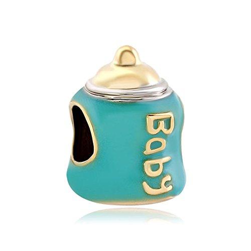 - LovelyJewelry Cute Golden Pacifiers Aquamarine Blue Little Baby Feeding Bottle Beads For Bracelet