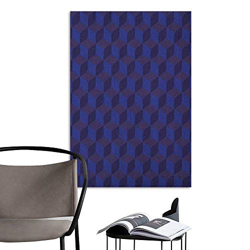(Scenery Wall Sticker Indigo 3D Print Like Geometrical Futuristic Inspired Shadow Boxes Cubes Image Print Dark Blue and Blue Boys Kids Bedroom W8 x H10 )