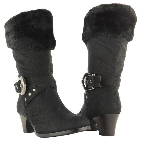Girls' Faux Fur Collar Mid Calf High Heel Winter Suede Boots Black , 11