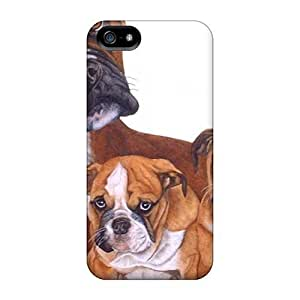 For AnnetteL Iphone Protective Case, High Quality Case For Iphone 5/5S Cover Family Of Boxer Dogs Skin