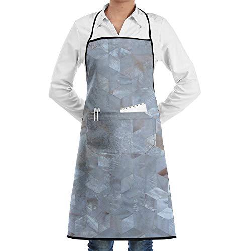 Cooking Chef Aprons for Men Women Diamond Pearl Mosaic Tile Adjustable Kitchen Long Full Bib Apron for Grill Restaurant Server 20.5X28.3inch,Black