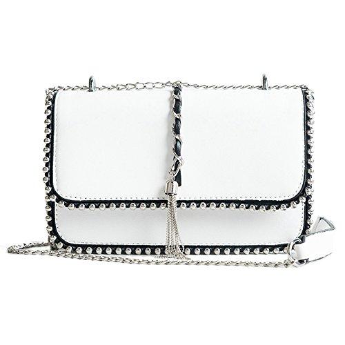 - YOOXI Women's Leather Fashion Handbag Quilting Envelope Cross Body Shoulder Bag 9011 white