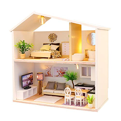 Spilay DIY Miniature Dollhouse Wooden Furniture Kit,Handmade Mini Modern Model Plus with Dust Cover & Music Box ,1:24 Scale Creative Doll House Toys for Children Lover Gift (Light Time)