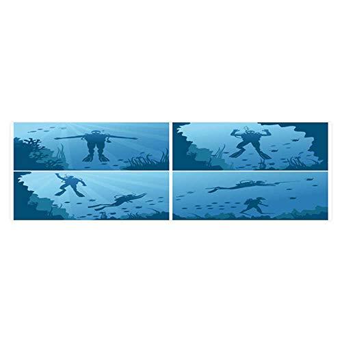 Dragonhome Background Poster Scuba Divers Under Water Ocean and sea Diver deep Sport div and Reef n PVC Aquarium Decorative Paper L23.6 x H11.8 (Decal Div)