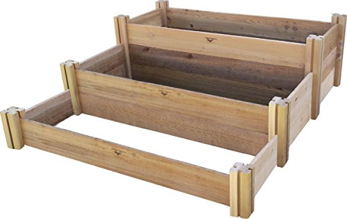 Gronomics Multi-Level Rustic Raised Garden Bed, 48 by 50 by 19'' by Gronomics