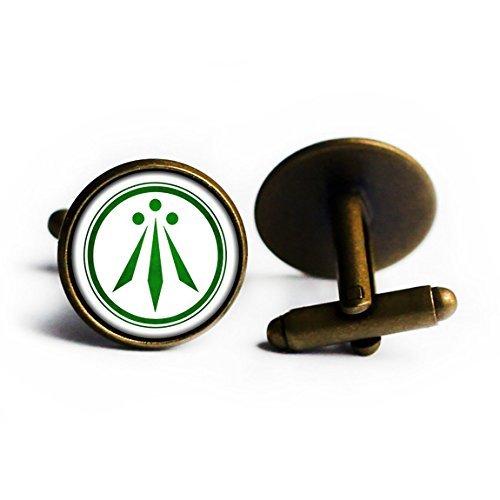 Celtic Symbol - The Awen - Three Rays of Light - Green on White Antique Bronze Cufflinks