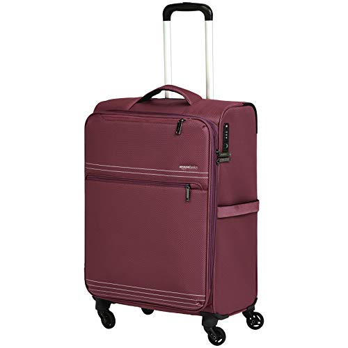 (AmazonBasics Lightweight Luggage, Softside Spinner Travel Suitcase with Wheels - Red)