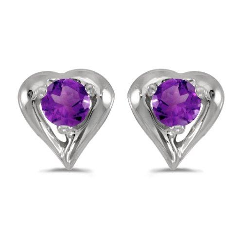 Amethyst Cluster Heart Post Earrings - 1