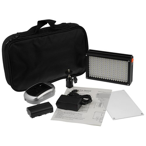 Fotodiox Pro LED 209AS, Video LED Light Kit, with Dimmable Switch, Daylight / Tungsten Switch 1x Sony type Battery, Battery Charger, Removable Diffuser, and Hot Shot Mount, Fits Pentax K-5, (Pentax Switch)